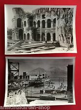 2 x altes Foto ITALIEN 1940 Kolosseum Rom und Vesuv Hafen Schiffe  ( F11385