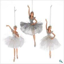 Kurt Adler Set of 3 White & Silver Ballerina Ballet Christmas Ornaments