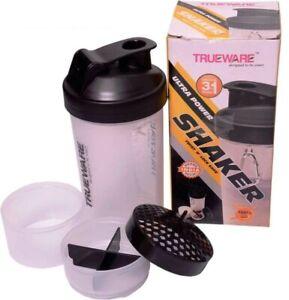 TrueWare Awesome 3 in 1 Shaker Plastic Protein Bottle,Milk Shake,700 ML