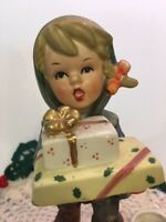 Vintage NAPCO Christmas Shopping Shopper Candle Holder Figurine Gifts & Holly