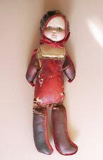 Antique doll, primitive with hand-made body, straw-filled
