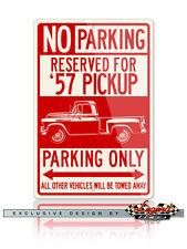 1957 Chevrolet Pickup Task Force 3100 Reserved Parking 12x18 Aluminum Sign