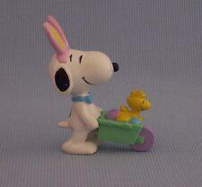 Snoopy Yellow Bunny Ears Woodstock Wheelbarrow PVC Figure Snoopy Peanuts Gang