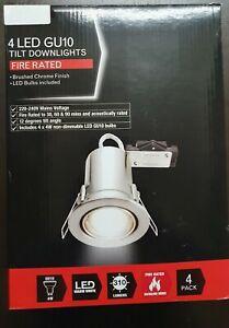 4 xTILT |Fire Rated | GU10 Ceiling Spot Lights Downlights INC LED BULBS BCHROME