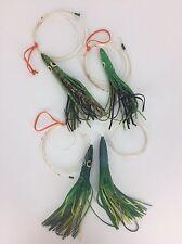 Lot 4 Saltwater Lures Big Game Fishing Pin Rig Skirt Stainless Hooks Mono Leader