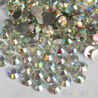 2000Pcs 4mm Flatback Crystal AB 14 Facets Resin Round Rhinestone Beads Striking