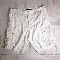 American Eagle Outfitters Mens White Longer length Cargo Shorts Classic Size 38
