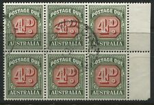 Australia 1958 4d Postage Due used block of 6
