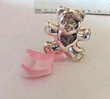 Sterling Silver 16 gram 35x30mm Pink Ribbon Baby Girl Bear Clip Pacifier Holder