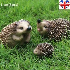 Set of 3 Hedgehog Garden Animal Ornaments Outdoor Statues Realistic Sell Well