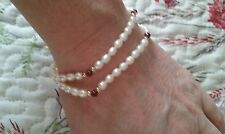 Pearl and bead double strand bracelet