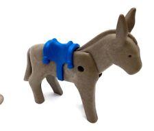 Playmobil Donkey Grey w/ Blue Saddle Movable Head Western Nativity Miners N17