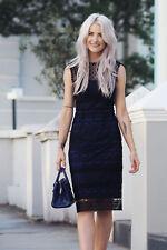 Karen Millen Blue High Neck Lace Cocktail Pencil Party Dress DZ080 8 - 16 New