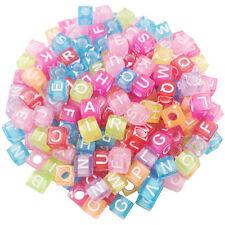 100 x 7mm Random Mix 7mm Round Alphabet Letter Beads Kids Beading Crafts 17Color