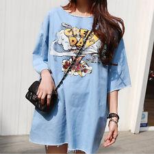 Ladies Womens Korean Style Fashion Cartoon Pattern Loose Denim Dress Skirt New