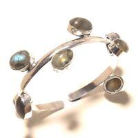 Labradorite Bracelet cuff Gemstone Handmade Silver Plated Jewellery