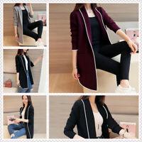 Women OL Cardigan Coat Long Sleeve Jacket Casual Solid Pocket Jumper Plus Size