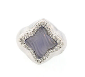 David Yurman 18K White Gold Blue Chalcedony Diamond Quatrefoil Ring Size 6