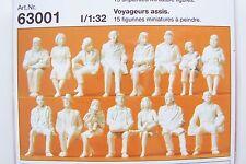 Preiser 1:32 scale 15 UNPAINTED SEATED PASSENGER Figure KIT # 63001