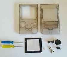 Clear Gray Full Housing Case Shell for Gameboy Pocket +Buttons+ Triwing +Screen