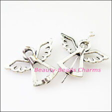 4Pcs Tibetan Silver Angel Wings Spacer Frame Beads Charms 22x29mm