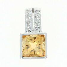 Citrina y Diamante Colgante - 14k Oro Blanco Tablero de Ajedrez 1.03ctw