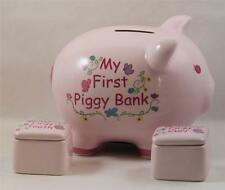 Piggy Bank Photo Keepsake Box Pink 1st Tooth Curl Lidded Boxes