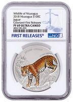 2018 Nicaragua Wildlife - Jaguar 1 oz Silver Colorized Coin NGC PF69 FR SKU53802