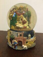 Musical Snow Globe Nativity Scene Mary, Joseph, An Angel & Baby Jesus In Cradle