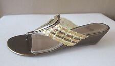 New Women's Bronze Gold Impo 'Golda' Open toe Wedge Thong Sandal Slipper 91/2 M