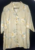 Tommy Bahama Men's XL Short Sleeve Button Down Hawaiian Shirt Ivory Floral