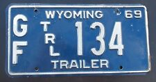 """1969 WYOMING  GAME AND FISH  TRAILER LICENSE PLATE """" GF TRL 134 """"  WY 69"""