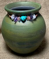 RAKU Studio Pottery Vessel/Vase Metallic Green Tones; by J.DILLER  Stone Collar