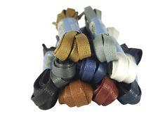 WAXED FLAT COTTON SHOE LACES SHOELACES - 8mm wide - 19 colours - FREE UK P&P!