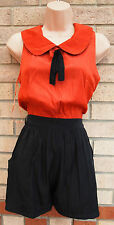 MISO CORAL BOW PETER PAN NECK BLACK CULOTTE BUTTONED BACK PLAYSUIT ALL IN ONE 8