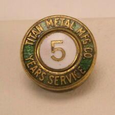 Screw Back Tie Tack Lapel Pin -Titan Metal Manufacturing 5 Year Vintage