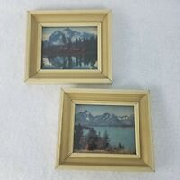 """Vintage Pictures Prints Lake Mountains Landscape 6.75"""" x 5.75"""" Framed Lot of Two"""