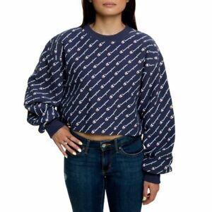 NWT Champion Womens All Over Crop Crew Fleece Sweatshirt NAVY