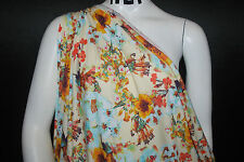 Hawaiian Print Rayon Stretch Jersey Knit Fabric  Beautiful  Flowers Cream Combo