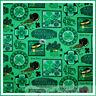 BonEful Fabric FQ Cotton Green VTG Shamrock St Patrick Irish Gold Hat Horse Dot