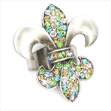 Fleur De Lis Lily Cocktail Adjustable Rings Jewelry Pewter Crystal Multicolor