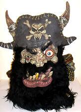 "Latex Halloween Mask - HUGE 27"" Pirate Mask w/ Skull Shoulder Pads & Huge Beard"