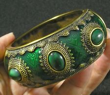 Egyptian Style Gold Plated Aluminum Green Enamel Hinged Spring Bangle Bracelet