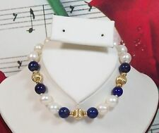 """Lapis Lazuli, Cultured Pearl Bracelet With 14K GF Beads & Clasp. 7 1/2"""" FWPBR048"""
