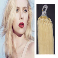 Micro Ring Beads Loop Tip Remy Human Hair Extensions Platinum Blonde 22inch 100S