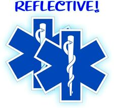 (2) Reflective Star of Life Hard Hat Stickers | Helmet Decals EMT RN Rescue