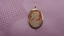 VINTAGE 14K SOLID GOLD CAMEO PIN/BROOCH PENDANT