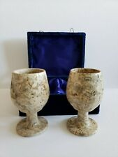 Coral Marble Goblet Set of 2 Sherry Glasses w/ Blue Velvet Case Euc Fast Ship