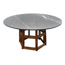 "60"" W Marble Dining Table Round Black Marble Stone Top Solid Wood Base"