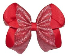 """NEW """"SHIMMERY SILVER/RED"""" Hairbow Alligator Clips Girls Ribbon Bows 5 Inch"""